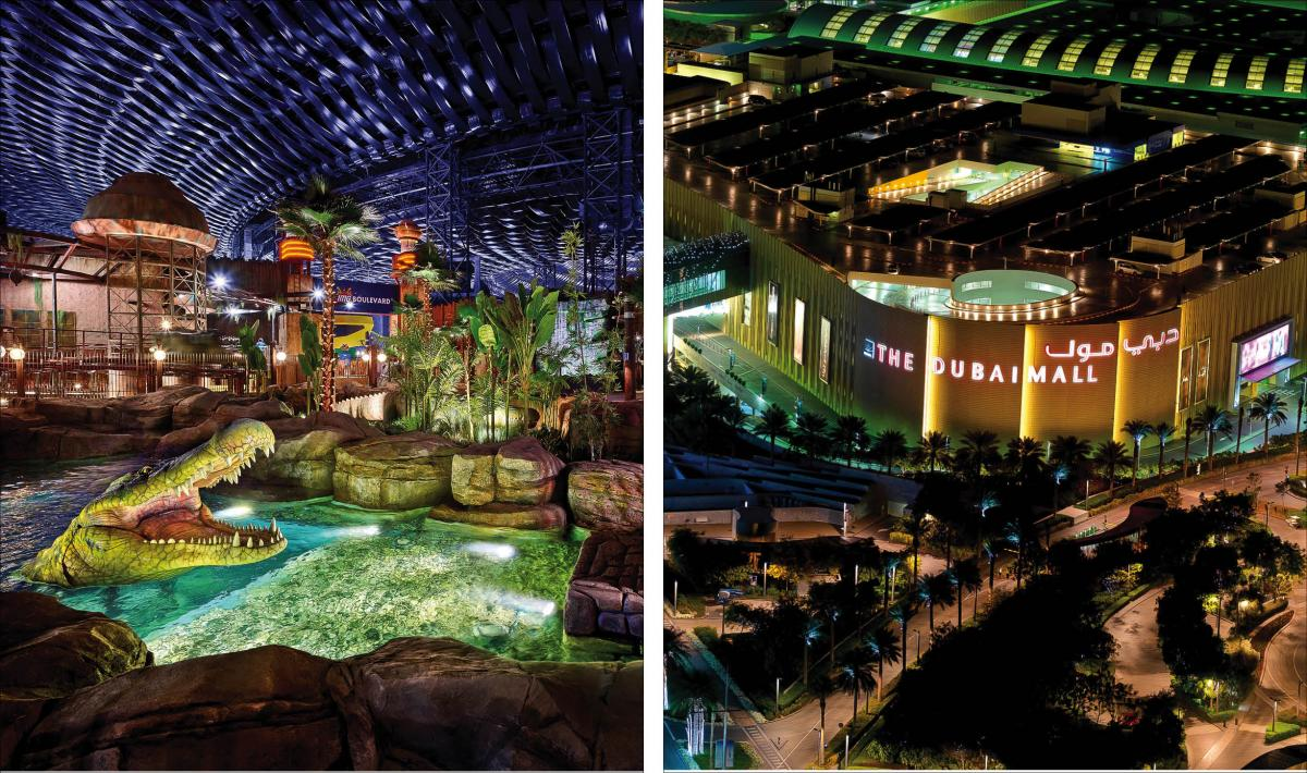 IMG Worlds of Adventure, world's largest indoor theme park; (right) The Dubai Mall, world's largest shopping mall.