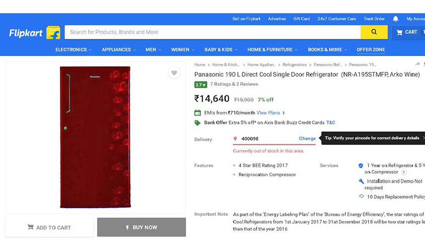 Panasonic single door refrigerator (190L) marked at Rs 15,900 on Flipkart.
