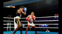 Gujarat Giants' skipper Amit Panghal (R) beat Punjab Panthers' PL Prasad by 5-0 on day 7 of the Big Bout Indian Boxing League being held at Indira Gandhi Indoor Stadium in New Delhi (1) copy