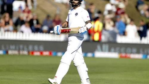 Wellington: Indian skipper Virat Kohli walks back to the pavilion after getting dismissed on Day 3 of the 1st Test match between India and New Zealand at the Basin Reserve cricket ground in Wellington, New Zealand on Feb 23, 2020. (Photo: Surjeet Yadav/IA