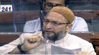 AIMIM President Asaduddin Owaisi speaks in Lok Sabha during the Parliamentary Monsoon Session