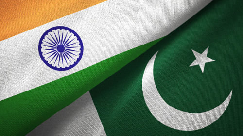 Pakistan and India flag together realtions textile cloth fabric texture