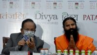 Yog Guru Ramdev and Union Health Minister Dr Harsh Vardhan address media